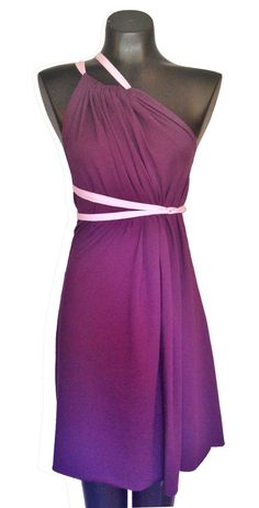 $29.99 on Etsy. Click to buy now! Pin & get 10% off with coupon code: PIN10. Short plum purple jersey knit convertible SACKdress. This dress can be worn in more than 20 different ways, and one size fits ALL! #sackdress #sackdressbyanna