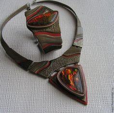 Купить Комплект из кожи с аммолитом Жар-птица - украшение из кожи, кожаное украшение, колье из кожи - http://amzn.to/2goDS3g