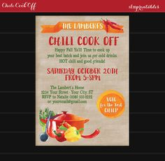 Chili Cook Off Invitation Printable / DIY Chili Voting Ballot Bundle / Modern Watercolor Hot Pepper and Chili Pot Theme / Fall Party by sfmprintables