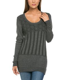 Look what I found on #zulily! Gray Mixed-Knit Scoop Neck Sweater #zulilyfinds