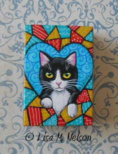 Tuxedo Cat in Heart Crazy Quilt Original by ArtbyLisaMNelson