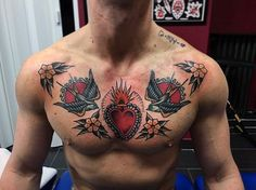 Amazing Flaming Heart With Swallow Birds Guys Traditional Chest Tattoo