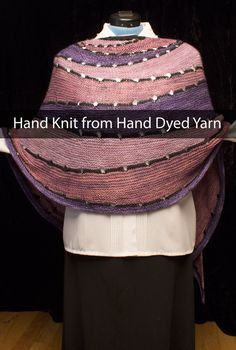 "Hand Knit Shawl - Silk and Merino Wool Half Circle Shawl 100"" by 28"" by VibrantFiberArt on Etsy"