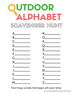 Outdoor Scavenger Hunt for Kids - This Outdoor Alphabet Scavenger Hunt is a great nature walk idea for kids. It helps promote summer learning and less learning loss. A great kids activity in your own backyard. Picture Scavenger Hunts, Backyard Scavenger Hunts, Camping Scavenger Hunts, Preschool Scavenger Hunt, Scavenger Hunt List, Scavenger Hunt Birthday, Scavenger Hunt Clues, Thoughts For Kids, Treasure Hunt For Kids