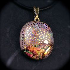 Hindi Sunrise  Pink dichroic glass necklace hand by GoldenGlow, $45.00
