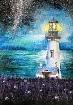 Маяк акварель, маяк, море, поле, пейзаж, арт, Живопись, Небо, длиннопост