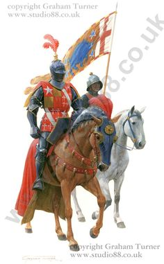 John de Vere, 13th Earl of Oxford, mounted in full armour with his standard bearer.