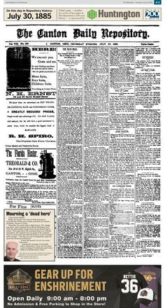The death of U.S. Grant was front-page news in The Repository on July 30, 1885.
