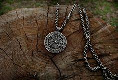 Vegvísir Viking Pendant Sterling Silver Viking by BerlogaWorkshop Viking Jewelry, Men's Jewelry, Runic Compass, 925 Silver, Sterling Silver, Vegvisir, Norse Vikings, Celtic, Pendant Necklace