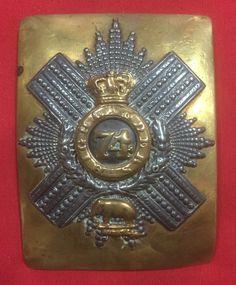 Victorian Officers 74th Highlanders belt plate inscribed to Gen H.R. Kelham CB
