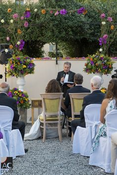 Lisa and Mike's outdoor ceremony. Almost 100 guests travelled from Canada for their wedding. What an event! www.weddingsinrome.com