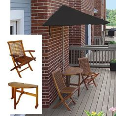 Terrace Mates Caleo 5 Piece Dining Set Size: Deluxe 7.5', Color: Black - Sunbrella by Blue Star Group. $841.50. Color: Black / Wood. Size: See Description. An extraordinary NEW product for expanding your outdoor leisure living.. TMCD7S-BK Size: Deluxe 7.5', Color: Black - Sunbrella Features: -Dining Set.-Off-The-Wall Brella with crank handle and a olefin, sunbrella canopy for durability, provides shade and comfort on your veranda or deck.-Table and chairs are made of d...