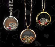 Floating glass lockets. Capture mementos, charms and keepsakes in these easy-to-open lockets.