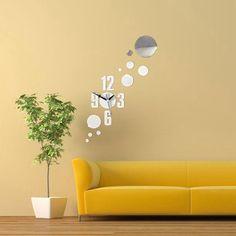 DIY 3D número círculo de pared espejo pegatinas de reloj moderna decoración del hogar