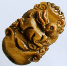 Natural Tiger-eye Gemstone Hand Carved Lovely Rabbit of Zodiac Amulet Pendant