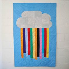 Cloud rainbow quilt: Modern colourful quilt for by EdgeEffects Colorful Clouds, Colorful Quilts, Cloud Cushion, Cot Quilt, Rainbow Quilt, Baby Blue Colour, Decoration, Baby Quilts, Modern