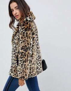 dd2f09380fde ASOS DESIGN animal faux fur coat Fausse Fourrure, Manteau, Mode 2018,  Manteau En