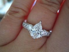 Pear Solitaire In Engagement Vintage Inspired Setting