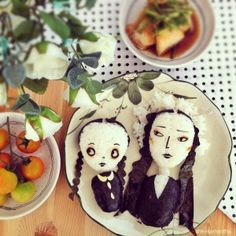 Wednesday and Morticia from The Addams Family Bento