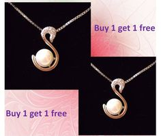 Zircon & Silver Swan natural white pearl(10mm)Pendant Necklace buy 1 get 1 free