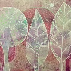 Another fantastic embellished Gelli print - this one with paint pens! Art by Lucy Brydon Little Gelli print embellished with paint pens.