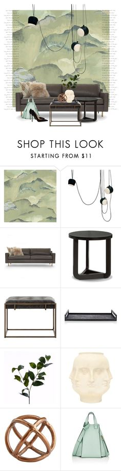 """Linwood Rumi wallpaper..."" by gloriettequartet ❤ liked on Polyvore featuring interior, interiors, interior design, home, home decor, interior decorating, Linwood, Flos, Mitchell Gold + Bob Williams and Ginger Brown"