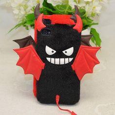 Cute Fur Skin Little Wing Cartoon devil Back Cover Plush Bat Case for iPhone 5/5S/6/6S Plus Phone Cases Cover images