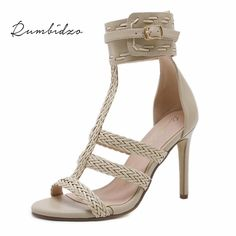 Rumbidzo 2018 Fashion Women Plus Size Summer High Heels Shoes Women Pumps  Peep Toe Rome Party Shoes Thin Heel Buckle Strap 416cd077f743