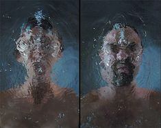 Water portrait by Bill Viola. Stills from a moving image which shows the movement of the water. Three prominent colours (blue, skin-colour and brown) which creates a simplistic effect, focusing on the movement of the water and facial expressions.