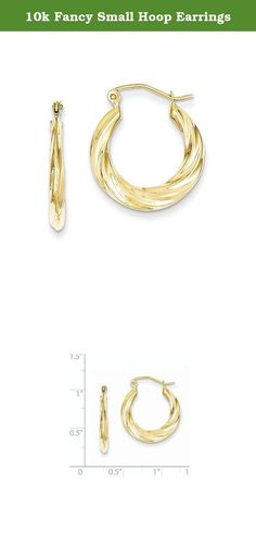10k Fancy Small Hoop Earrings. Attributes Polished 10K Yellow gold Hollow Hinged post Textured Product Description Material: Primary - Purity:10K Length of Item:14 mm Material: Primary:Gold Width of Item:3 mm Product Type:Jewelry Jewelry Type:Earrings Sold By Unit:Pair Material: Primary - Color:Yellow Earring Closure:Wire & Clutch Earring Type:Shrimp / Creole.