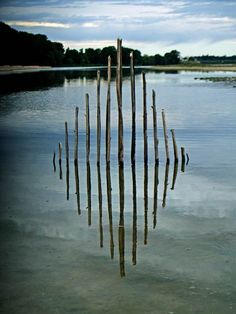 """""""Wild Idea"""", or the land art creations by French artist Ludovic Fesson, who uses collected on site materials to imagine geometric structures that take place in Outdoor Sculpture, Outdoor Art, Sculpture Art, Garden Sculpture, Land Art, Art Et Nature, Ephemeral Art, Stick Art, Organic Art"""