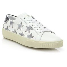 Saint Laurent Court Classic Sneakers with Metallic Stars ($675) ❤ liked on Polyvore featuring shoes, sneakers, apparel & accessories, metallic shoes, leather lace up sneakers, yves saint laurent shoes, white sneakers and lace up shoes