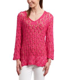 Fuchsia Sheer Leaf-Stitch V-Neck Sweater - Women