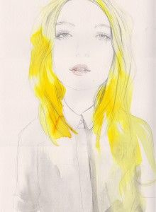 mellow yellow watercolour card pencil art