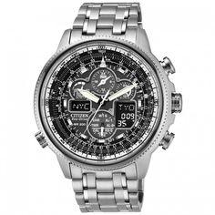 Citizen Mens Navihawk Silver Eco-Drive Chronograph Watchcode: JY8030-59E