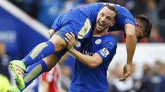 Leicester City's Danny Drinkwater and Leonardo Ulloa celebrate at full time