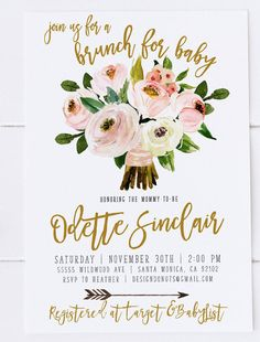 Celebrate the baby girl or boy on the way with this lovely floral baby shower brunch invitation! Floral Baby Shower Brunch Invitation, Boho, Gender Neutral, Printable [493]