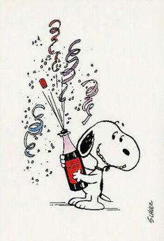 Silvester - Snoopy & Co. Snoopy Feliz, Snoopy Und Woodstock, Happy Snoopy, Snoopy Christmas, Christmas Humor, Christmas Christmas, Snoopy New Year, Charlie Brown Und Snoopy, Funny Happy Birthday Wishes