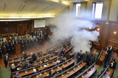 Tear gas protest keeps gag on Kosovo parliament #World #iNewsPhoto