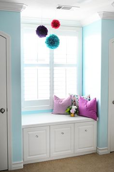 Interior Design: Tween Girl Bedroom Design Purple and Turquoise - Pink Peppermint Design Paint color - weathered glass from Lowes