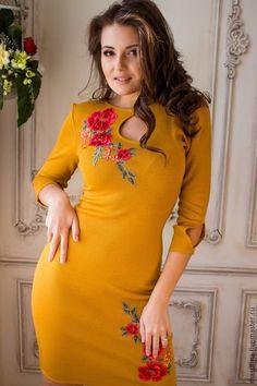 """Купить Платье """"Листопад"""" - оранжевый, однотонный, осеннее платье, сшить платье, платье на заказ"""