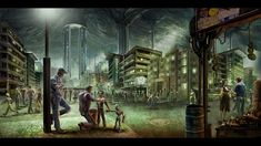 """""""Underground City"""" - a game concept art piece. Again sorta but not quite. City Of Ember, Sunken City, Underground Cities, Game Concept Art, Bioshock, Ancient Aliens, Post Apocalyptic, Fantasy World, Videos"""