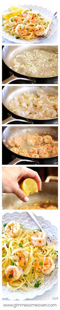 15-Minute Skinny Shrimp Scampi -- fast, healthier, and SO tasty!!  gimmesomeoven.com Fish Recipes, Seafood Recipes, Pasta Recipes, Cooking Recipes, Seafood Dishes, Fish Dishes, Pasta Dishes, Pasta Noodles, Veggie Noodles