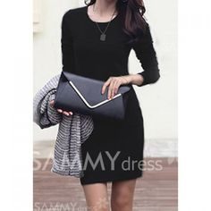 Solid Color Round Neck Long Sleeves Simple Style Cotton Dress For Women
