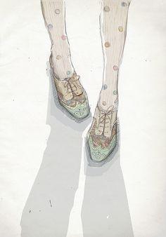 Polka dot tights with foral brogue