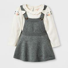 7053b80864bd4 Baby Girls  Long Sleeve Bodysuit with Sweater Skirtall - Cat   Jack™  Cream Gray Newborn