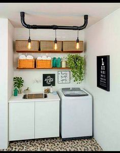 Browse laundry room ideas and decor inspiration for small spaces. Custom laundry rooms and closets, including utility room organization & storage ideas. Laundry Room Organization, Laundry Room Design, Laundry Rooms, Small Laundry, Laundry Area, Basement Laundry, Laundry Room Lighting, Room Interior, Interior Design