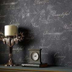 Concrete Script Wallpaper in Charcoal design by Graham & Brown