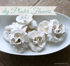 Plaster of paris flowers with dollar store stems for an easy DIY on a dime! Click over to see how to make these beautiful dipped flowers. Handmade Flowers, Diy Flowers, Fabric Flowers, Paper Flowers, Crafts To Make, Arts And Crafts, Diy Crafts, Diy Plaster, Fleurs Diy