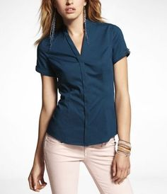 $39.90 - SHORT SLEEVE CHAIN HARDWARE ESSENTIAL SHIRT at Express (also in white and black)
